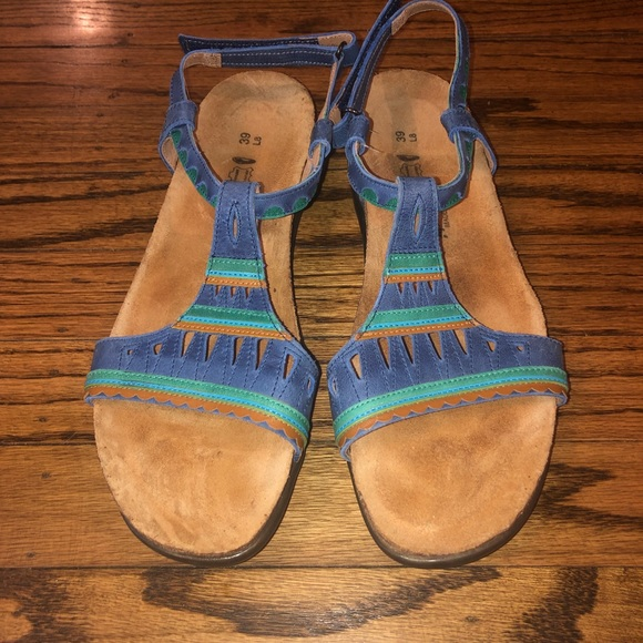 Naot Shoes - Naot Blue And Green Leather Sandals